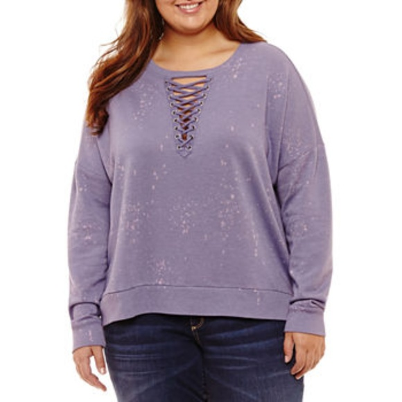 cfb0e33ce4f Arizona Junior s Plus Size Lace Up Sweater